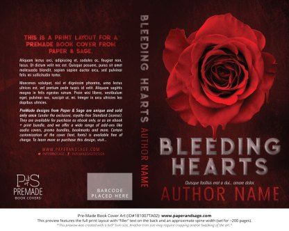 Print layout for Pre-Made Book Cover ID#181007TA02 (Bleeding Hearts)