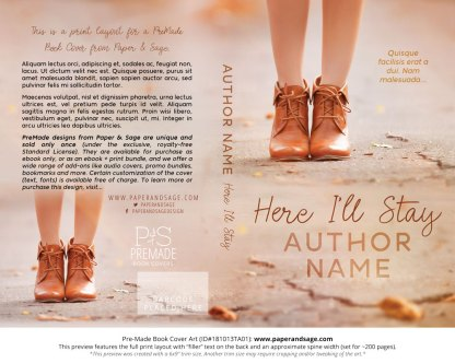 Print layout for Pre-Made Book Cover ID#181013TA01 (Here I'll Stay)
