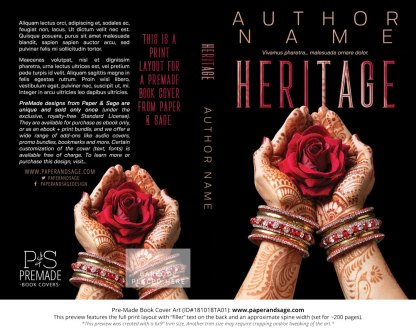 Print layout for Pre-Made Book Cover ID#181018TA01 (Heritage)