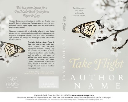Print layout for Pre-Made Book Cover ID#181114TA01 (Take Flight)