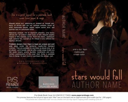 Print layout for Pre-Made Book Cover ID#181211TA02 (Stars Would Fall)