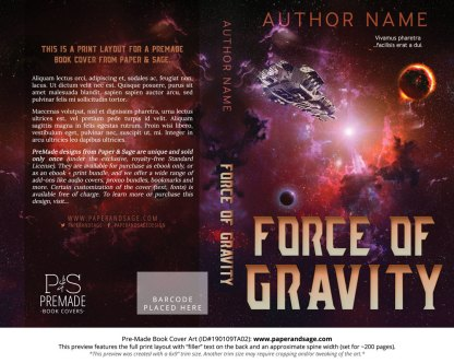 Print layout for Pre-Made Book Cover ID#190109TA02 (Force of Gravity)
