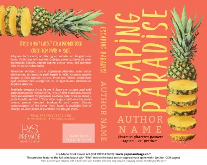 Print layout for Pre-Made Book Cover ID#190114TA01 (Escaping Paradise)