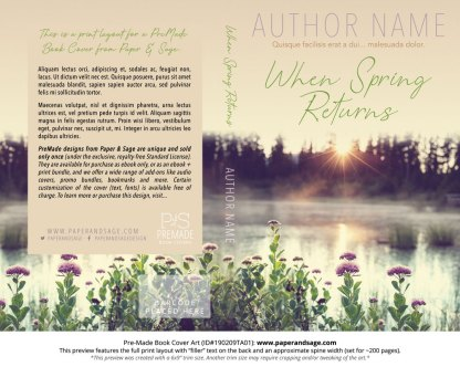 Print layout for Pre-Made Book Cover ID#190209TA01 (When Spring Returns)