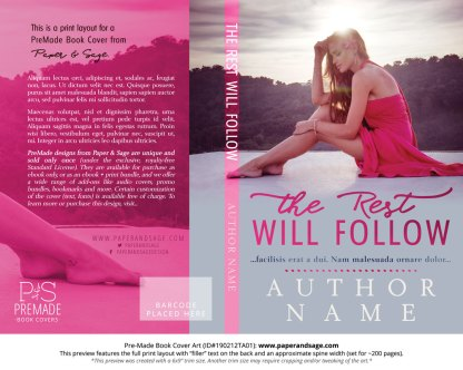 Print layout for Pre-Made Book Cover ID#190212TA01 (The Rest Will Follow)