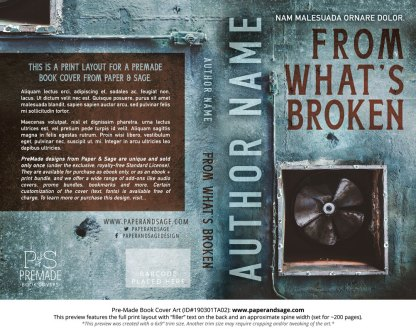 Print layout for Pre-Made Book Cover ID#190301TA02 (From What's Broken)