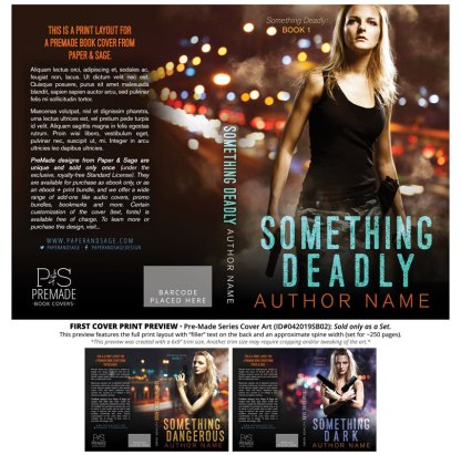 Print layout for PreMade Series Covers ID#042019SB02 (Something Deadly, Only Sold as a Set)
