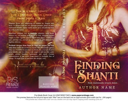 Print layout for Pre-Made Book Cover ID#190501TA01 (Finding Shanti)