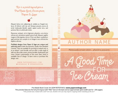 Pre-Made Book Cover ID#190703TA01 (A Good Time for Ice Cream)