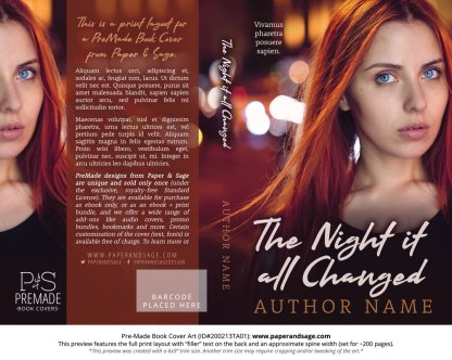 Pre-Made Book Cover ID#200213TA01 (The Night it All Changed)