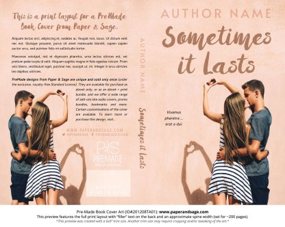 Pre-Made Book Cover ID#201208TA01 (Sometimes it Lasts)