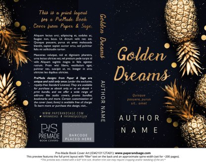 Pre-Made Book Cover ID#210112TA01 (Golden Dreams)