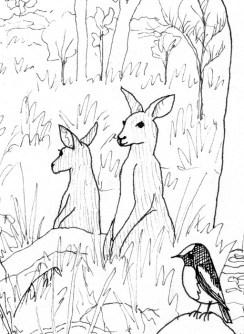 Woodland scene (detail) from Bimblebox Wonderland.