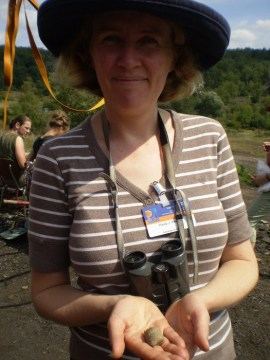 At the Messel fossil site in Germany, 2008. With a fossil poo!