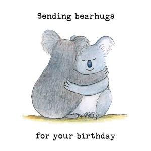 Sending bearhugs koala birthday card
