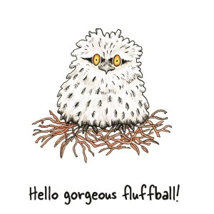 Hello gorgeous fluffball card