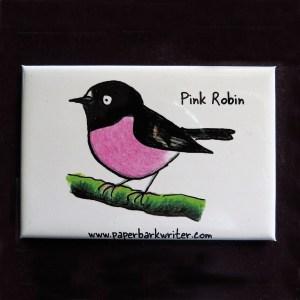 Pink Robin fridge magnet