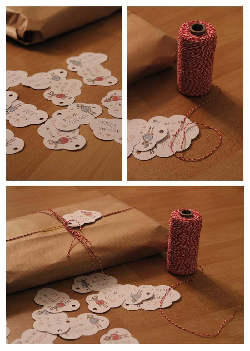 Cadeau de Noël - papier kraft étiquettes et bakers twine