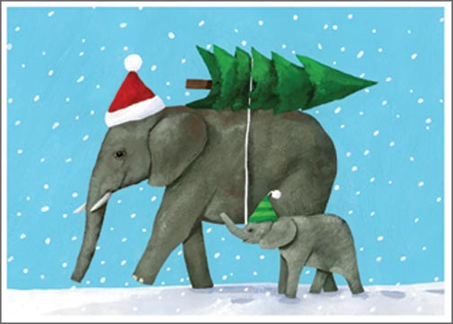 Elephant Christmas Card By Allport Editions