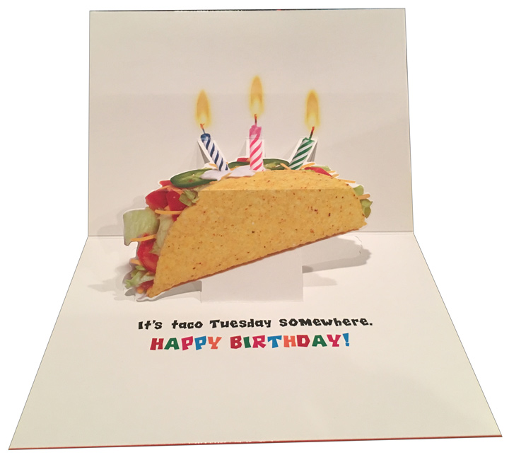 Otter Eats Tacos Pop Up Stand Out Funny Birthday Card By