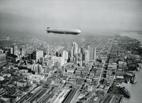Graf Zeppelin Over Downtown Historic Detroit Blank Note