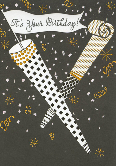 Black And White Party Horn With Gold Foil Accents Nephew