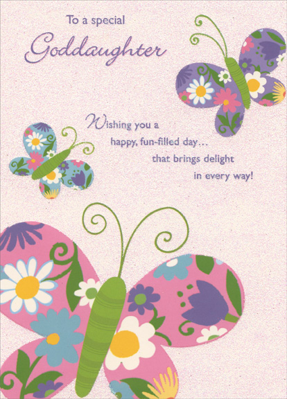 Three Colorful Butterflies On Glitter Background Goddaughter Birthday Card 735882346082 EBay