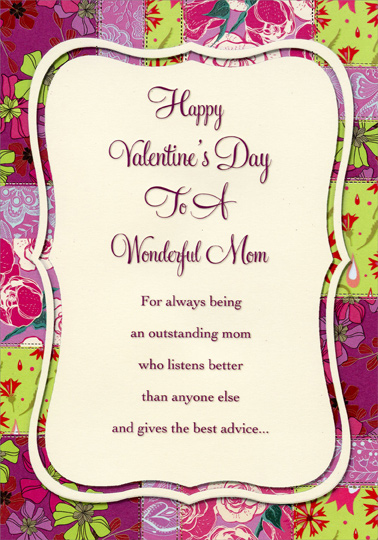White Panel On Pink And Green Florals Mom Valentines Day Card By Designer Greetings