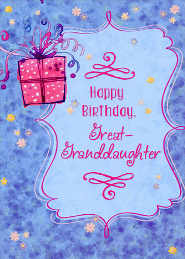 Pink Present On Blue Background Birthday Card For Great Granddaughter Ebay