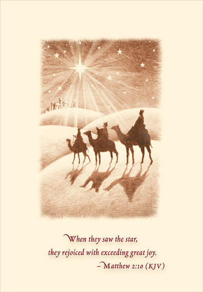 Wise Men Following Star Religious Christmas Card By