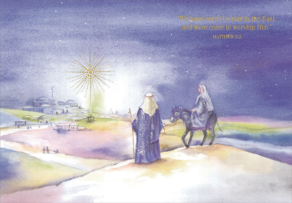Ride To Bethlehem Religious Christmas Card By Designer