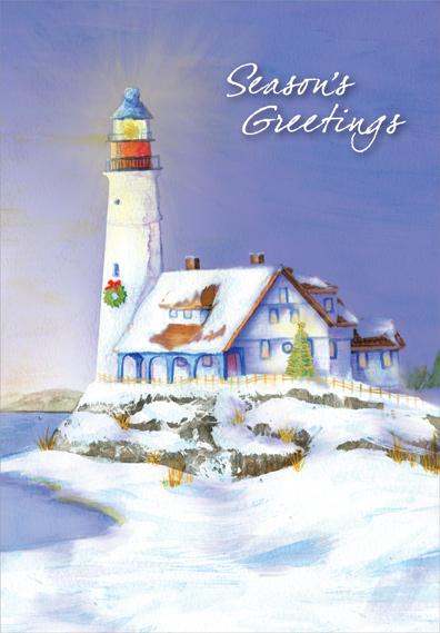 Lighthouse In Winter Box Of 18 Coastal Christmas Cards By