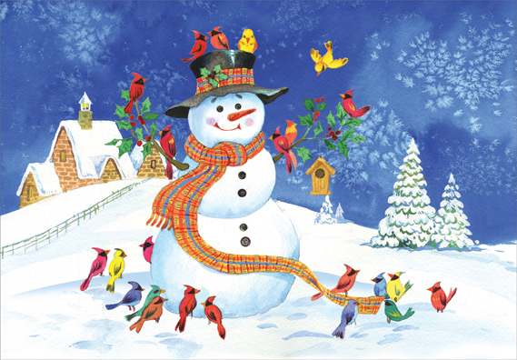 Snowman And Colorful Birds Christmas Card By Designer