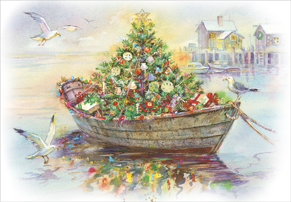 Boat Carrying Decorated Tree Box Of 18 Nautical Christmas