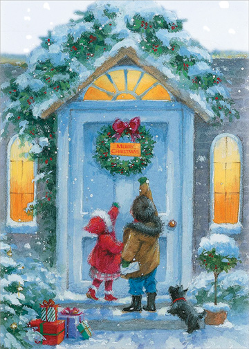 Children At Front Door Box Of 18 Winter Christmas Cards By