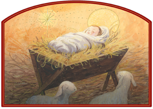 Infant Jesus In Bed Of Straw Die Cut Religious Christmas