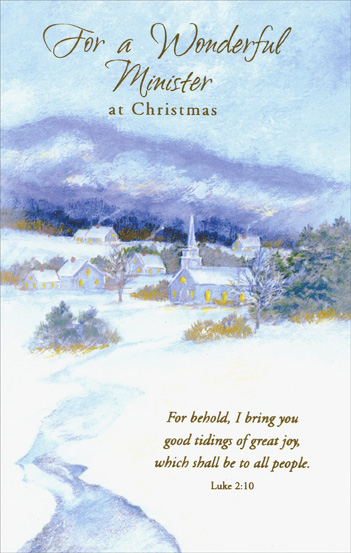 Snowy Church Minister Christmas Card By Freedom Greetings