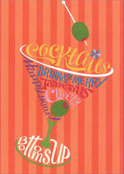 Cocktail Glass Birthday Card By Graphique De France