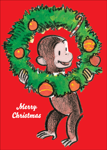 Curious George With Wreath Christmas Card By Graphique De