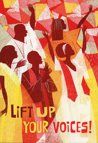 Lift Up Your Voices African American Christmas Card By
