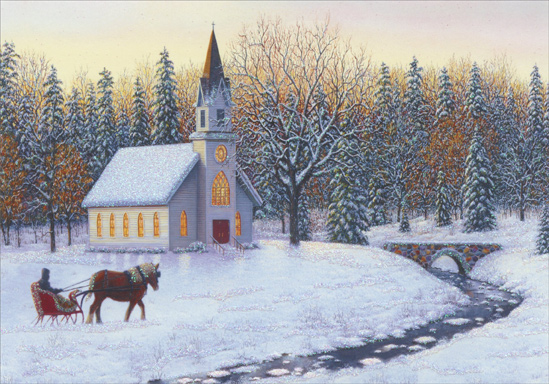 Sleigh Church And Stream Christmas Card By Image Arts