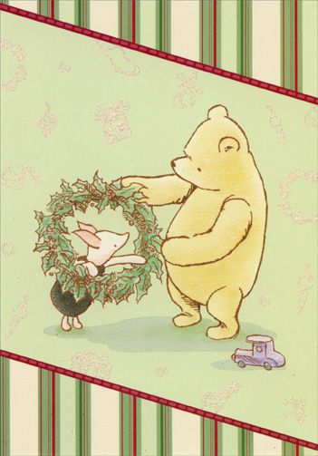 Winnie The Pooh Piglet And Wreath Christmas Card By