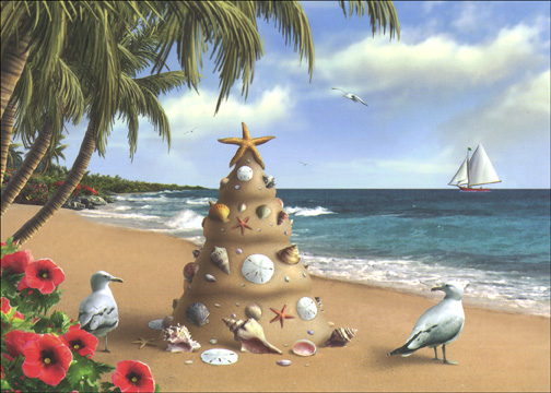Holiday In Paradise Warm Weather Tropical Christmas Card