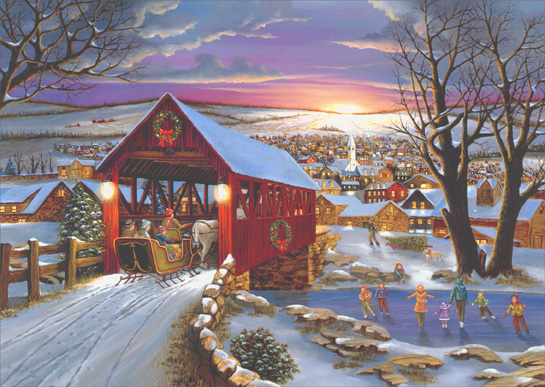 Sleigh In Covered Bridge Box Of 16 Christmas Cards By LPG