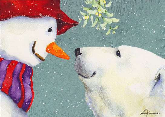 Snowman Amp Polar Bear Under Mistletoe Barb Tourtillotte