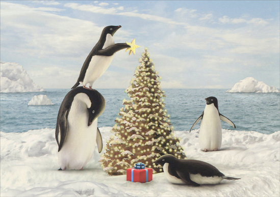 Merry Penguins Alan Giana Christmas Card By LPG Greetings