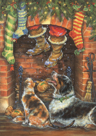 Santa Coming Down Chimney Christmas Card By LPG Greetings