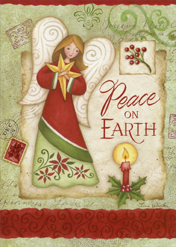 Angel Holding Gold Star Christmas Card By LPG Greetings
