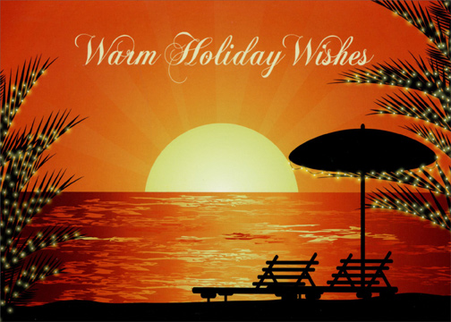 Holiday Sunset Box Of 18 Warm Weather Christmas Cards By