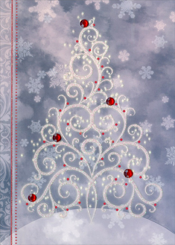 Sparkling Christmas Tree Box Of 12 Handcrafted Embellished